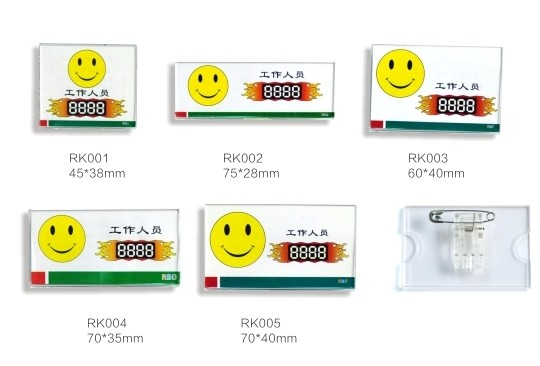 Rbd loaded faster acrylic smile badge rk01-rk05, Square transparent work permit badge, Badge