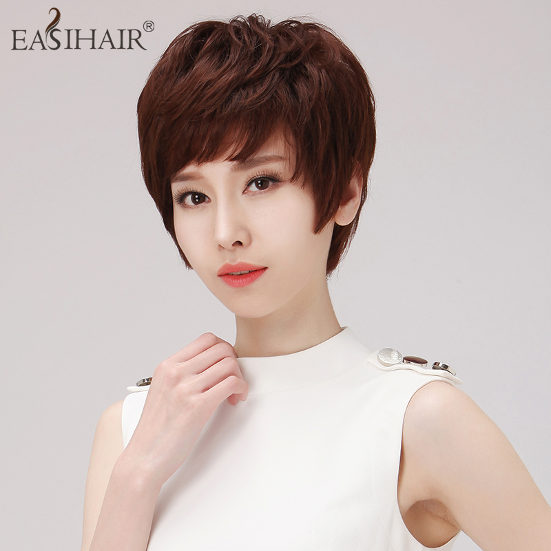 Real hair wig short hair female easihair hand woven hair wig short hair female short hair wig middle-aged mother wig