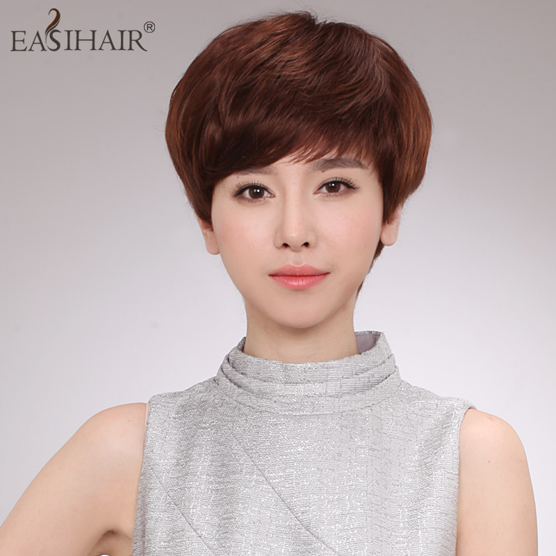 Real hair wig short hair female easihair knitted female wig oblique bangs wig female short hair real hair wigs real hair wig