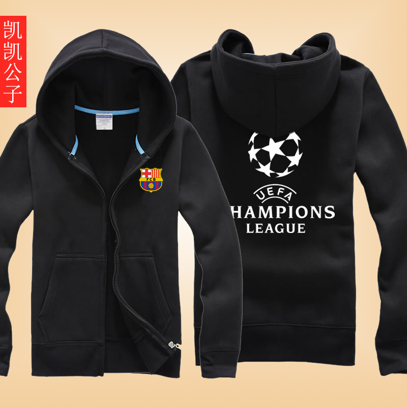 Real madrid c ronaldo messi barcelona champions league football clothes korean version of the influx of students in spring and autumn thin coat male hooded sweater