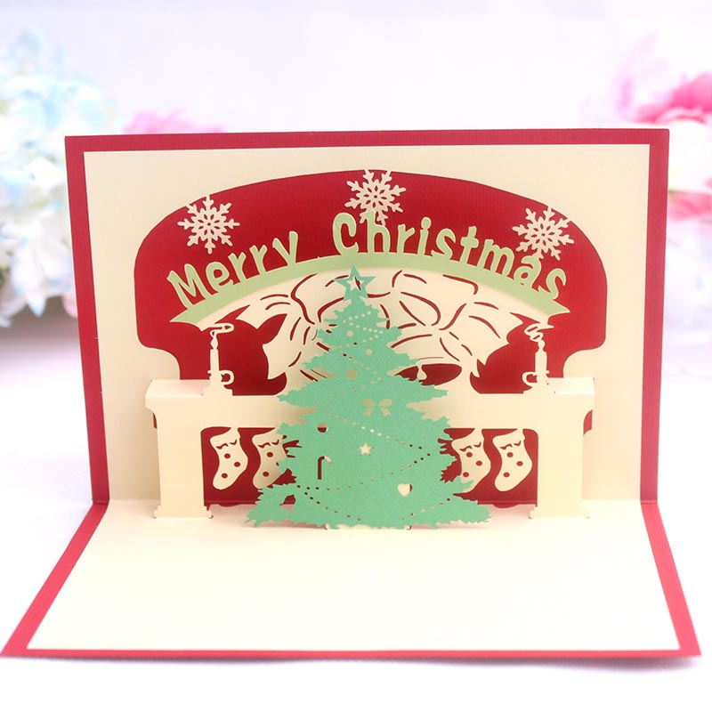 Red christmas tree christmas fireplace stereoscopic 3d stereoscopic handmade paper greeting card business greeting card new year greeting card card