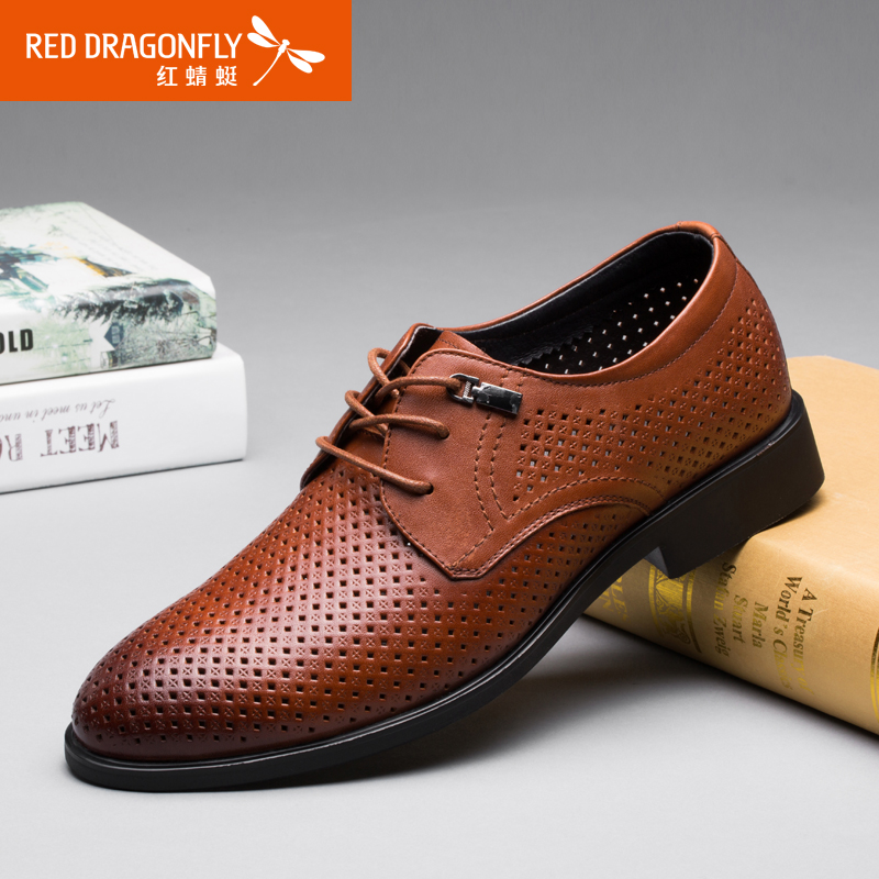 Red dragonfly genuine leather men's 2016 summer business dress shoes lace shoes first layer of leather wear and breathable hollow shoes