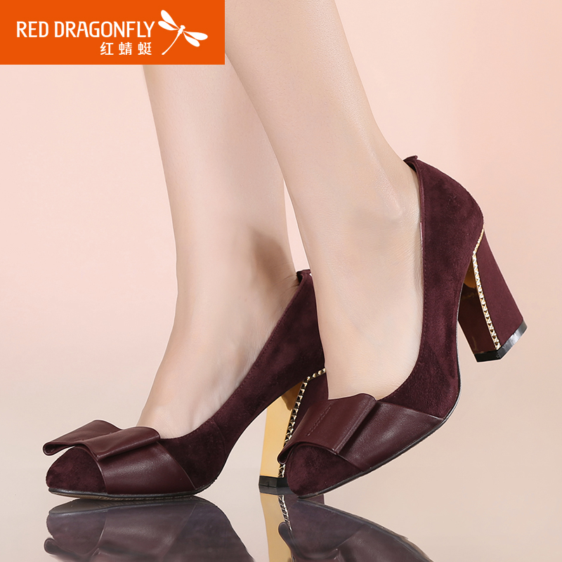 fc6e8e4466eb4 Get Quotations · Red dragonfly leather shoes women fall within the new  leather fashion tip wear thick with high