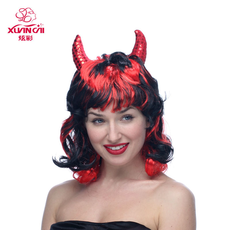 Red horns halloween wig short hair wig funny funny christmas masquerade dress