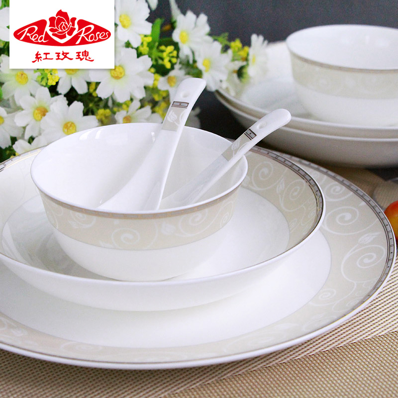 Red rose bone china tableware suit 22 head/40 head of household dishes dishes suit elegant gift set