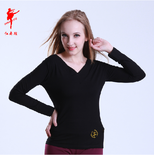 Red shoes square dance clothing new shirt long sleeve latin dance aerobics dance clothes yoga clothing