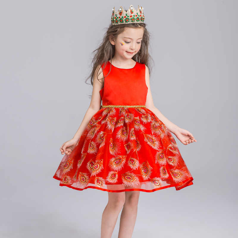 Red tutu dress child piano costumes wedding flower girl dresses for girls princess dress skirt spring and summer