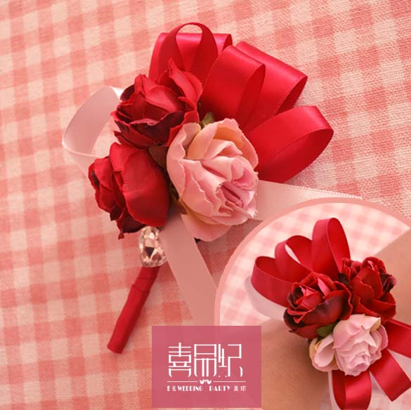 Red wedding wedding supplies with pink lapel beautiful wedding corsage cards wreath 、 wrist flower bridesmaid sisters