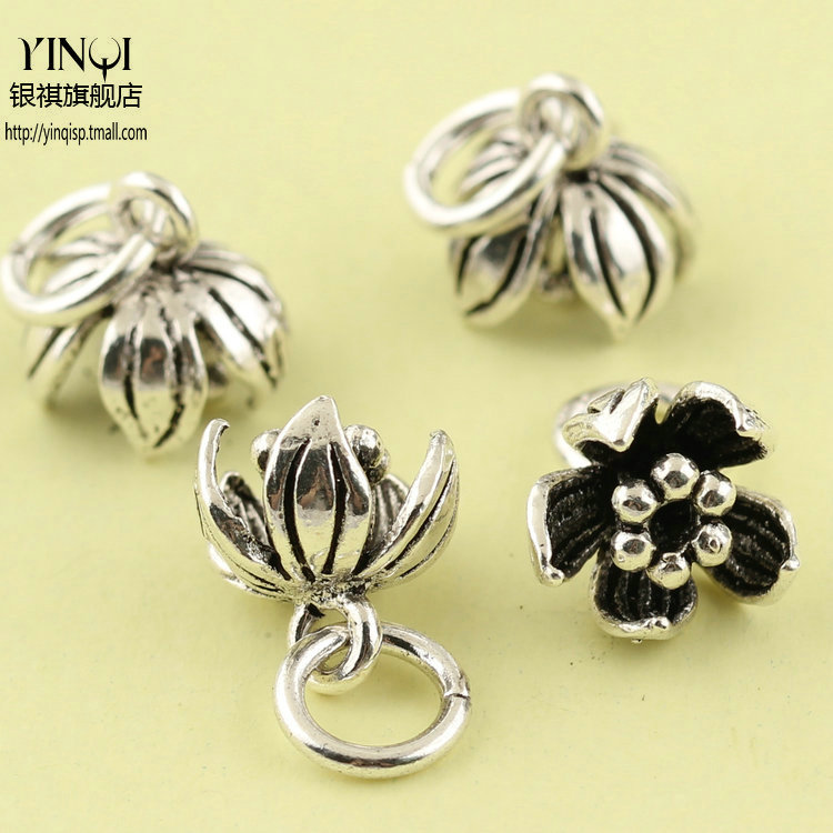 Regards s925 silver thai silver bracelets diy accessories ipomoea flower hanging pieces of bracelets bracelet pendant tassel accessories materials
