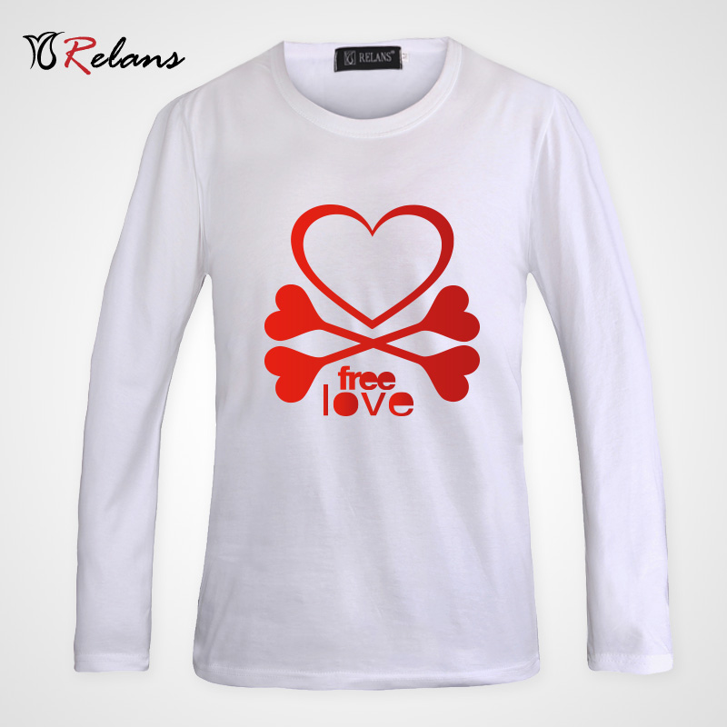 Relans personalized fashion trend of youth influx of new slim fashion love heart cotton t-shirt printing element M4697