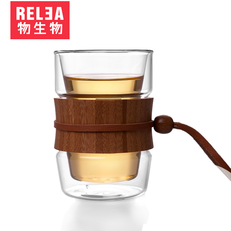 Relea/biological material natural wood double cup thick pyrex glass flower tea cup insulated cups