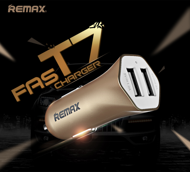 Remax speed 7 cigarette lighter car charger 2.4a dual u head usb charging head dual usb car charger dual Mini car charger u