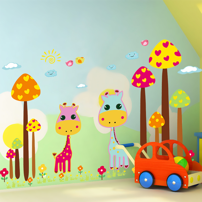 Removable wall stickers bedroom wall stickers cartoon children's room decoration wallpaper backdrop painting special offer free shipping cute giraffe