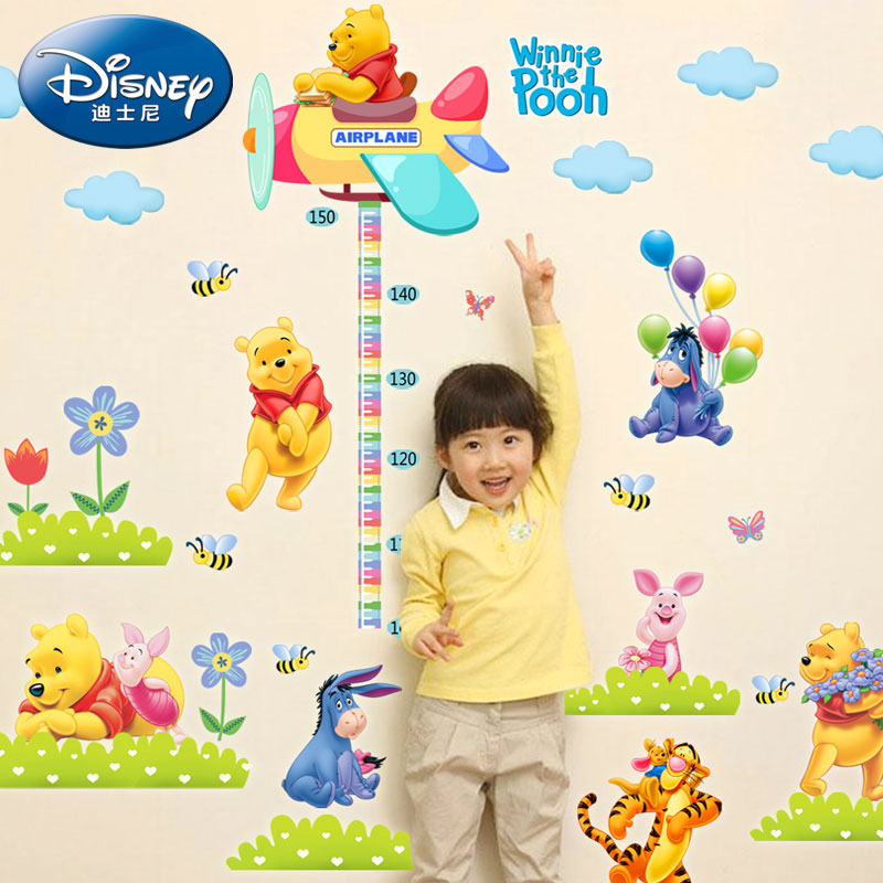 Removable wall stickers bedroom wall stickers children's room decor baby pooh height ruler measuring height stickers cartoon sticker wallpaper