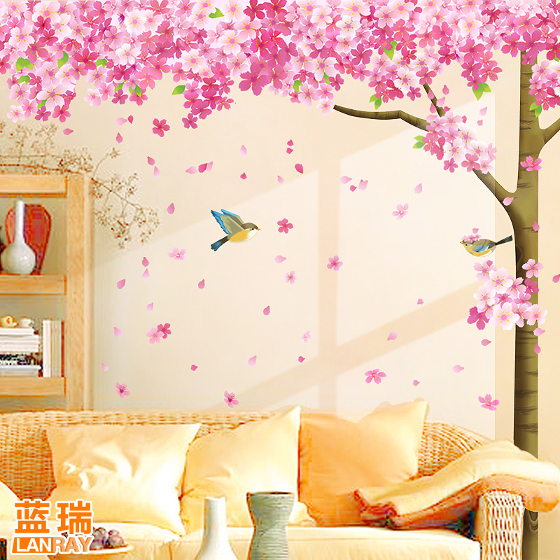 Removable wall stickers cherry tree romantic bedroom living room tv background wall decoration marriage room wall stickers