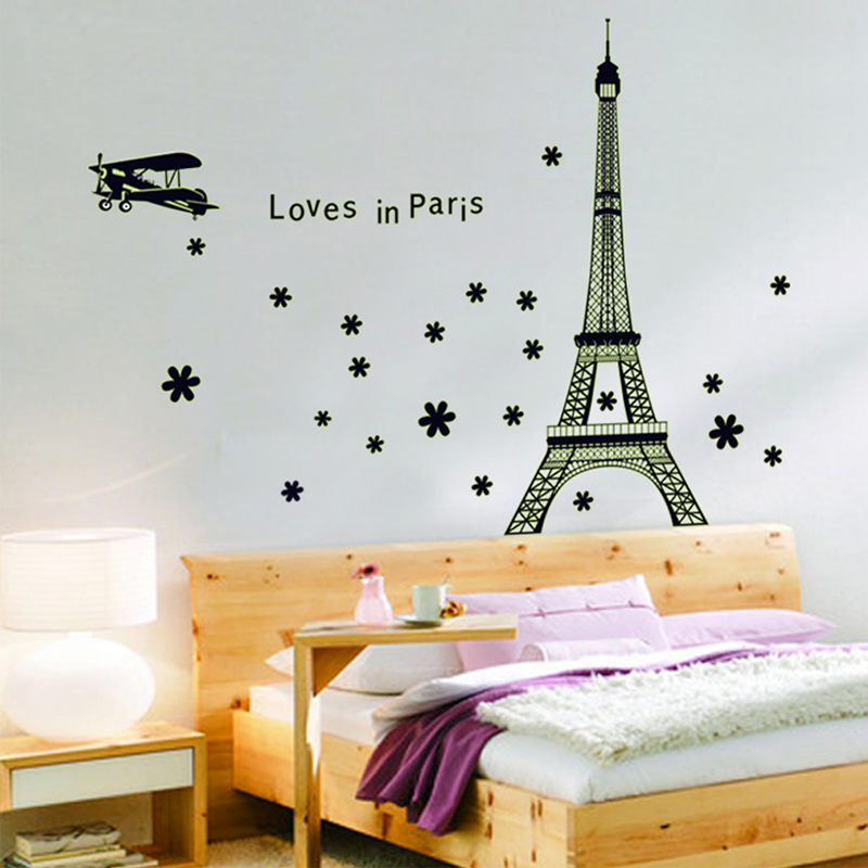 Removable wall stickers eiffel tower luminous fluorescent wall stickers wall sticker living room bedroom bedside warmly decorated