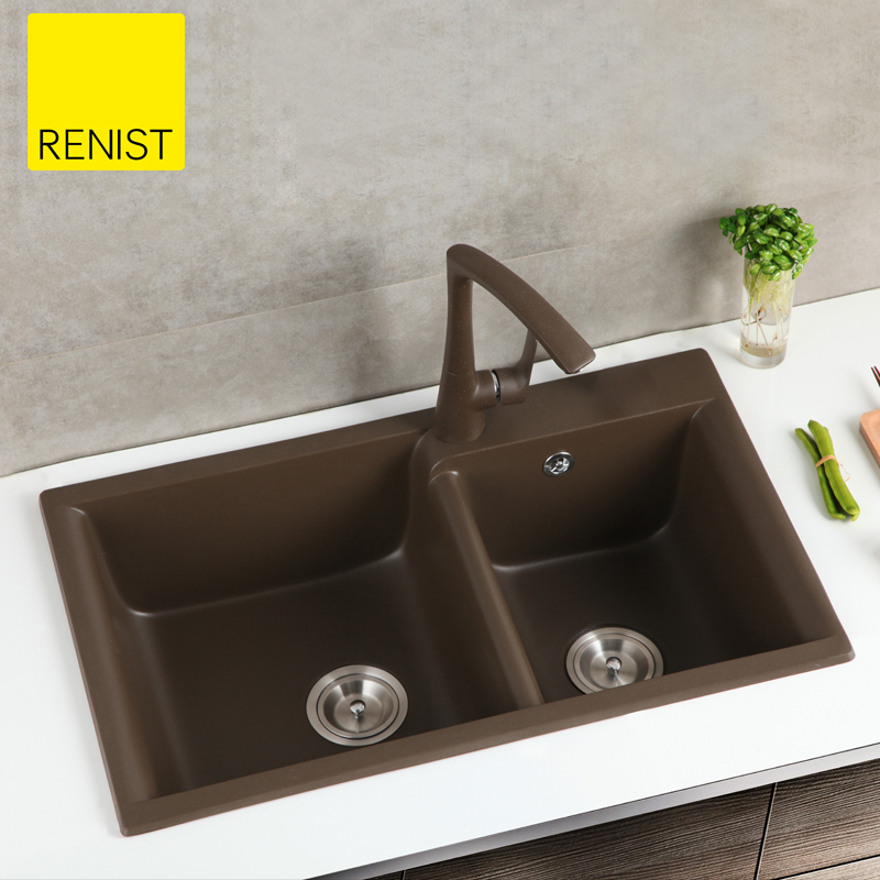 Renist reinis quartz stone sink granite kitchen vegetables basin sink double bowl kitchen sink dual slot
