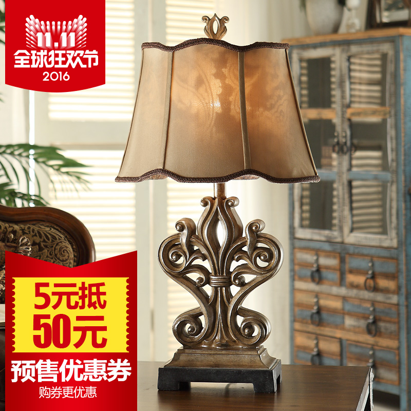 Resin creative living room bedroom luxury chinese american continental iron retro decorative table lamp bedside lamp desk lamp