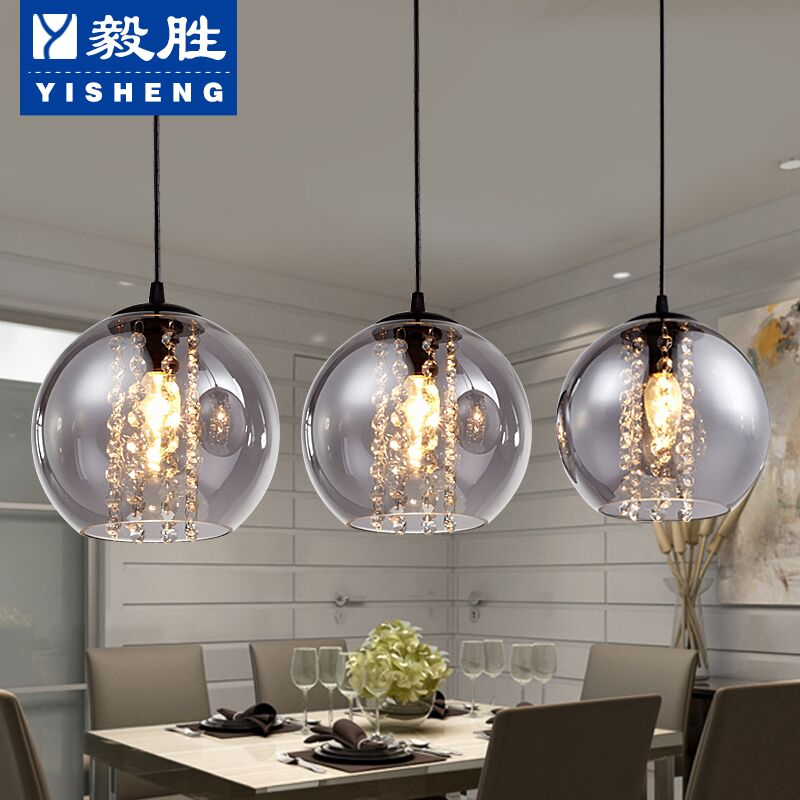 Restaurant light chandelier three modern minimalist dining table dining room chandelier bar led single head glass chandelier