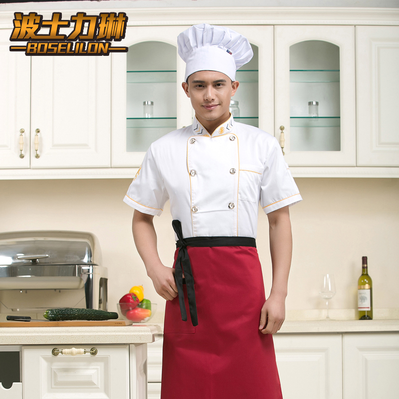 Restaurant restaurant kitchen restaurant chef service hotel chef clothing short sleeve summer white kitchen clothing for men and women houchu tooling uniform