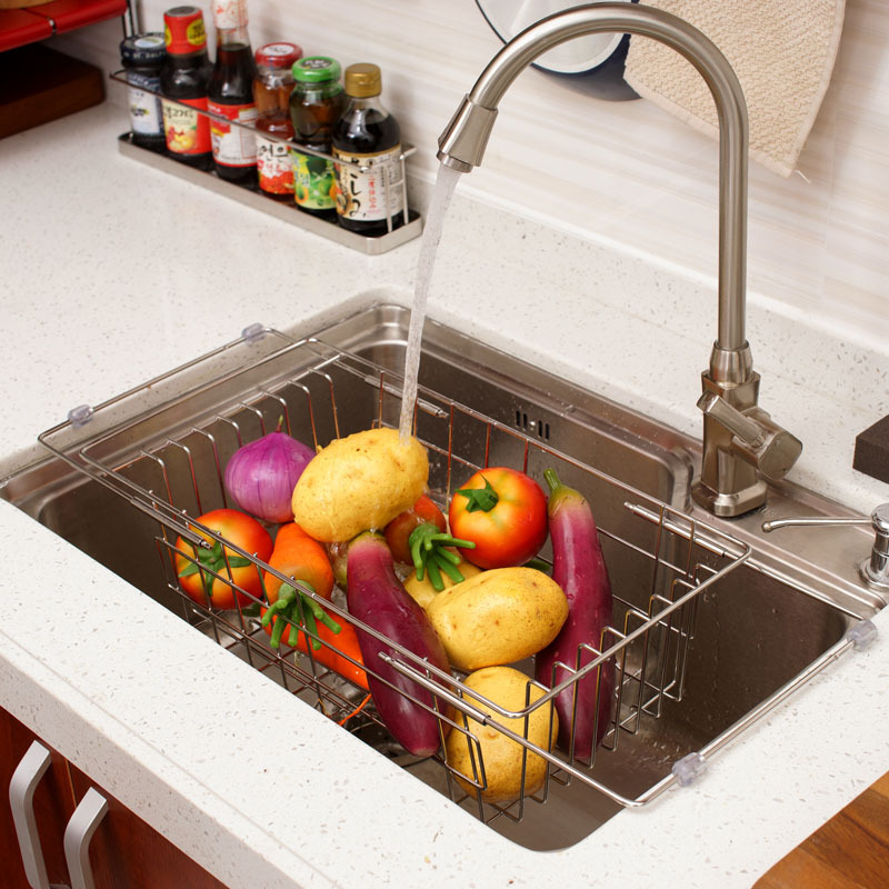 Retractable stainless steel sink rack creative kitchen shelving rack drain fruit cleaning kitchen washing dishes rack