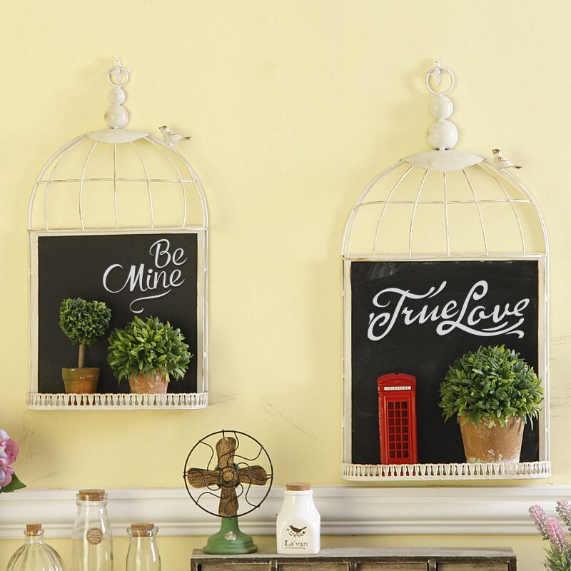 Retro do the old creative blackboard storage garden wrought iron bird cage decorative wall hangings bar cafe decorative wall hangings soft