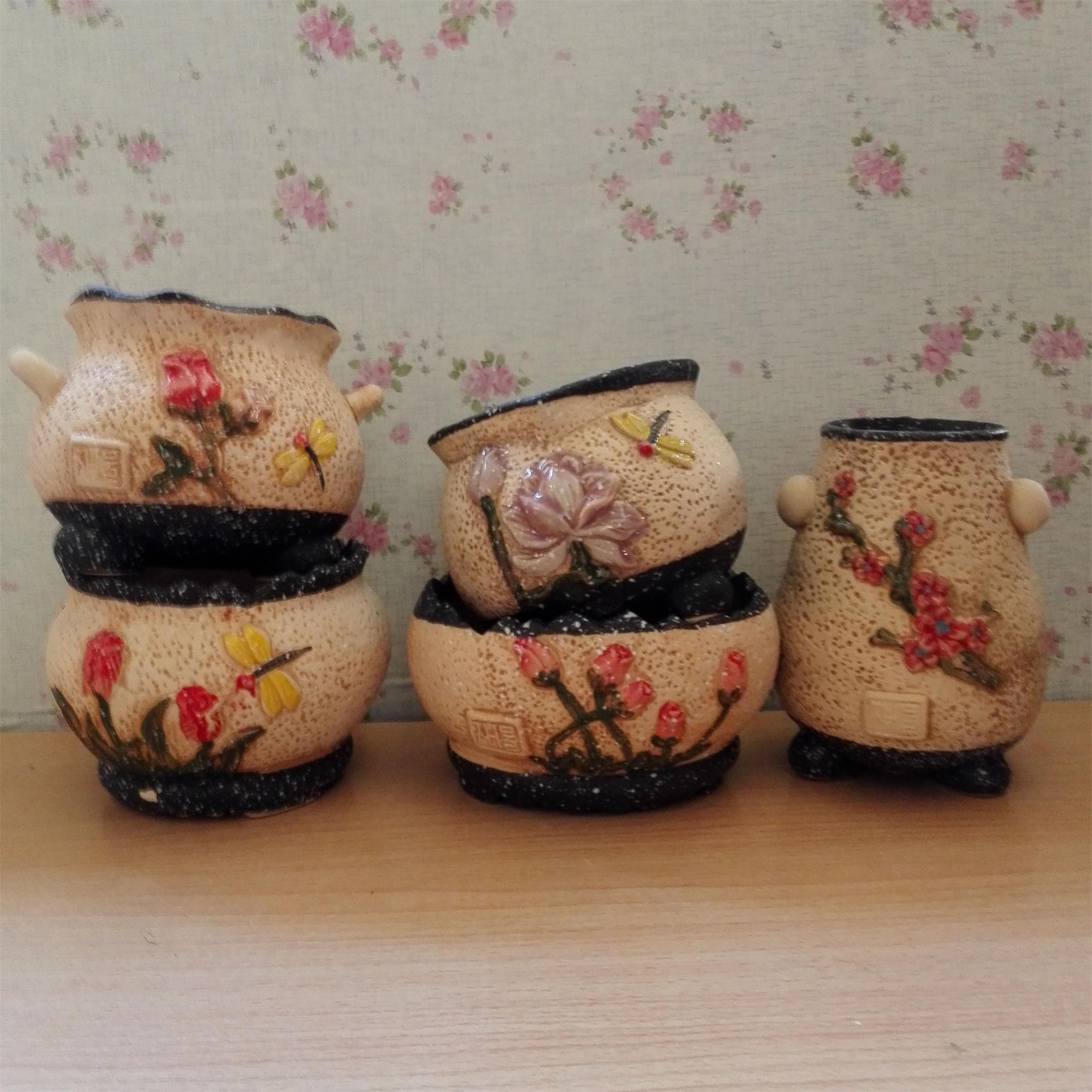 Retro flower painted stoneware pots ceramic pots fleshy retro creative big pots ceramic flower pots and more meat plants