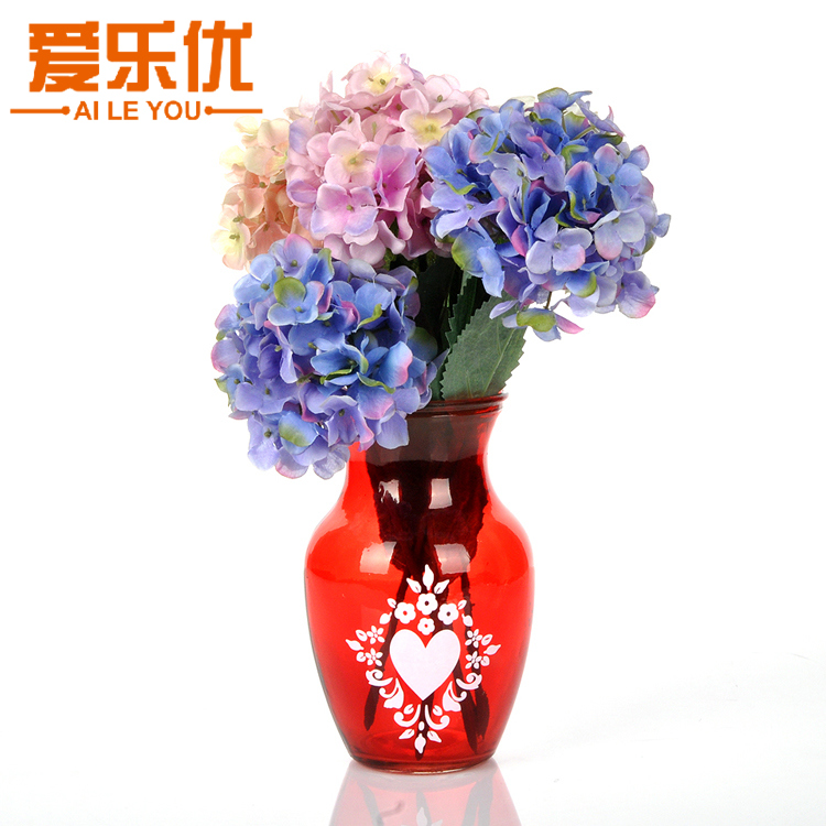Retro red glass flower vase insert number of european pastoral style wedding table flowers silk flower vase