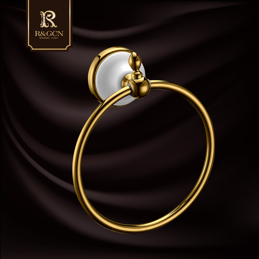 Rgcn golden stainless steel bathroom continental antique towel ring towel ring hotel bathroom hardware hanging pieces