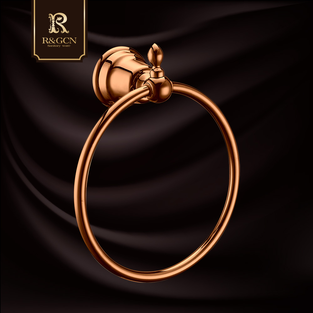 Rgcn sanitary stainless steel rose gold antique european towel ring towel ring bathroom hardware hanging pieces