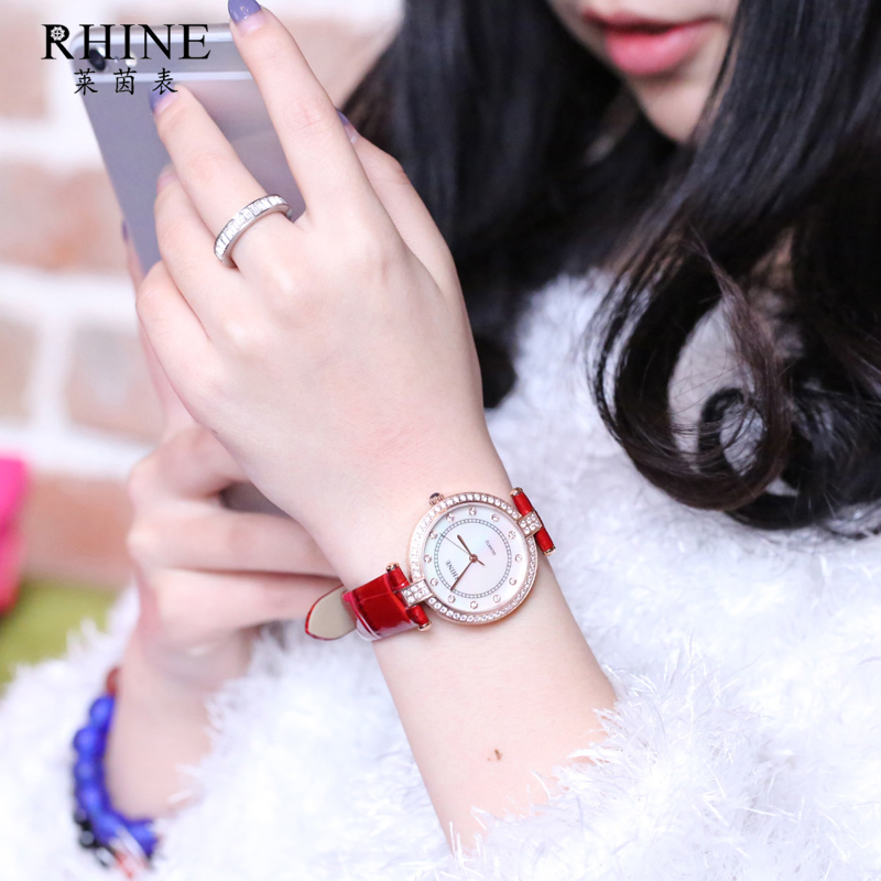 Rhine ms. counter genuine leather belt watch female students korean version of the simple quartz inlay diamond waterproof fashion tide