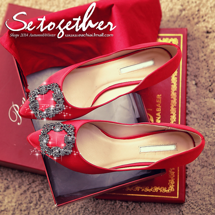 Rhinestone square buckle pointed stiletto shoes red wedding shoes bridesmaid shoes shallow mouth single shoes with low heel shoes wedding shoes