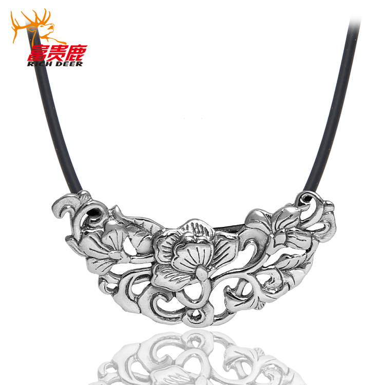 Rich deer ms. retro wishful vine 925 thai silver flower pendant necklace silver pendant necklace pendant clavicle