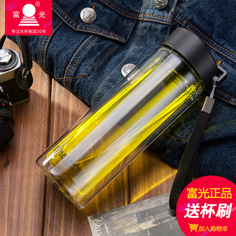 Rich light double glass cup with lid watercups 420ml home outdoor portable cup readily cup student cup