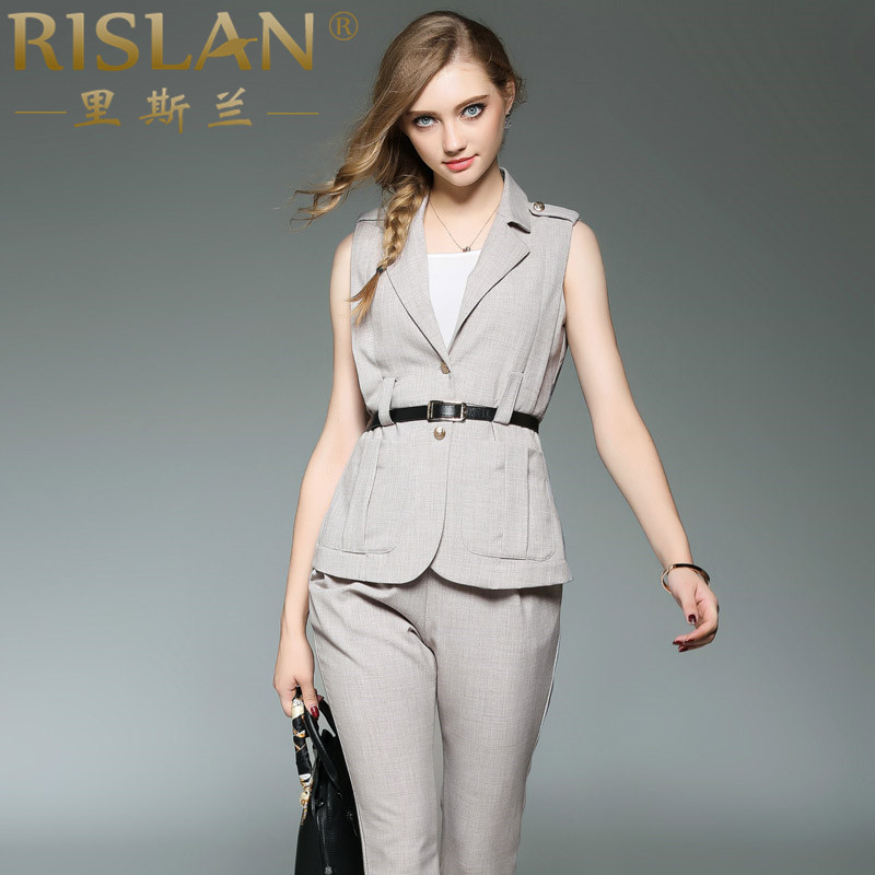Rislan/reese lan 2016 autumn in europe and america nine straight jeans pants suit vest sleeveless vest piece pants
