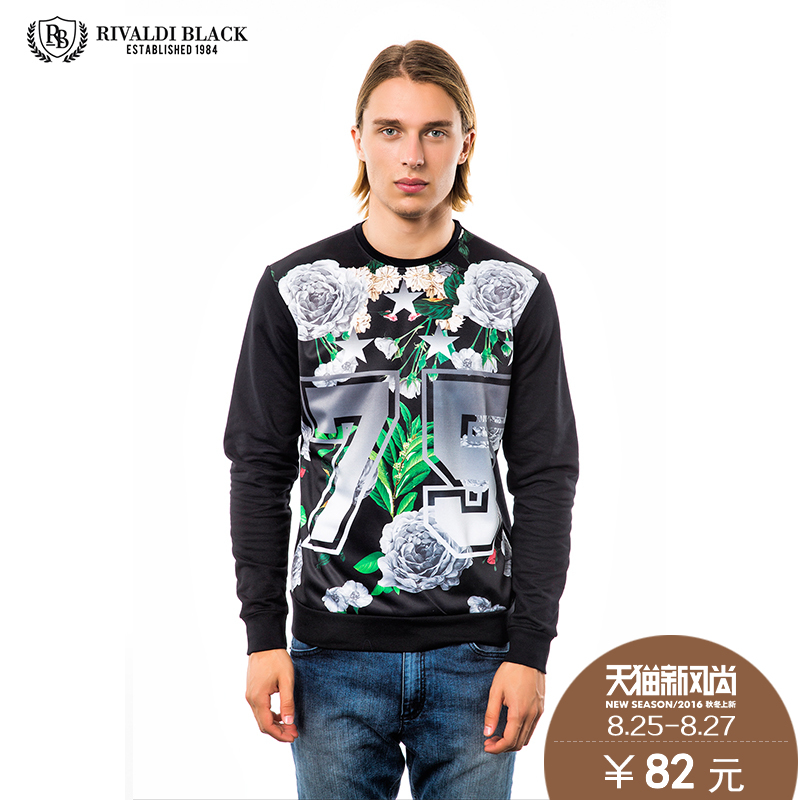 Rivaldi authentic european and american hit color printing casual round neck pullover sweater men spring models