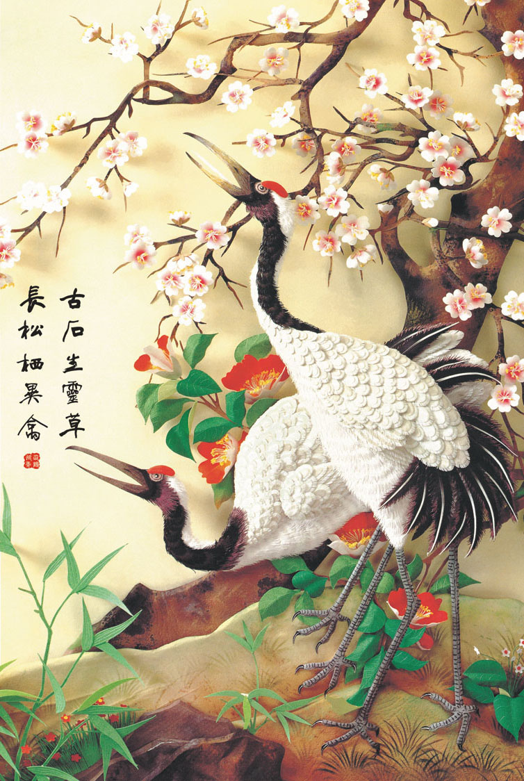 [Robinson] adult art wooden jigsaw puzzle 1000 500 china wind flower and bird paintings decorative painting rich rui
