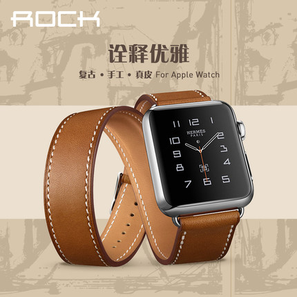 Rock apple watch apple iwatch watch strap leather strap cooperation customized new handmade
