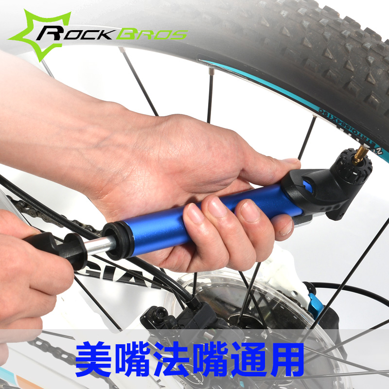 Rockbros bike mountain bike pump portable mini high pressure pump car cheer with france and the united states mouth