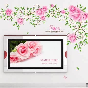 Romantic rose vine wall stickers decals romantic marriage room bedroom bedside living room tv backdrop decorative stickers
