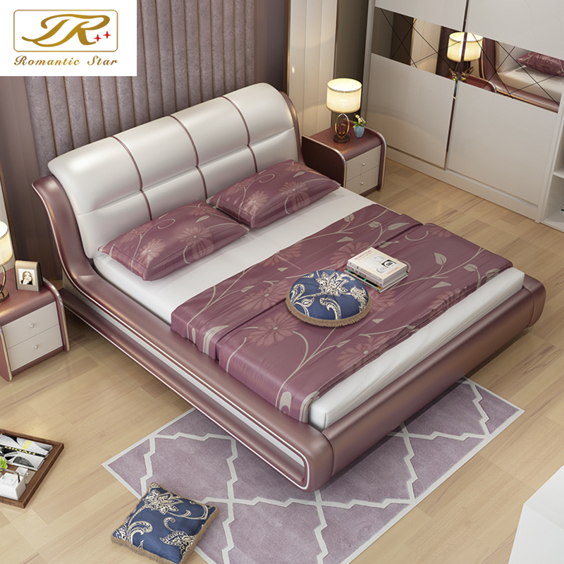 Romantic star leather software bed leather bed leather bed leather bed double bed marriage bed linen bed modern minimalist apartment size