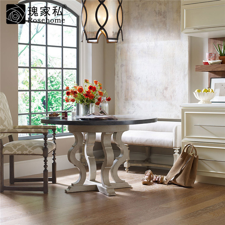 Rose end custom furniture dining room furniture american country wood furniture round dining table dinner table desk MR4039