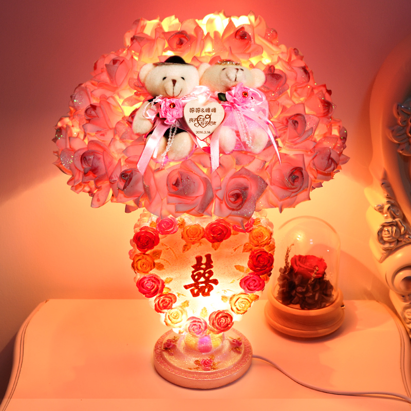 Rose married wedding supplies arranged marriage room table lamp decorated wedding wedding supplies wedding props y-36