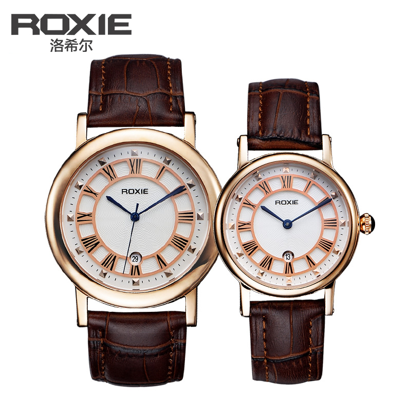 Rothschild genuine couple watch one pair of men and women leather slim watches calendar waterproof quartz couple tables on the table