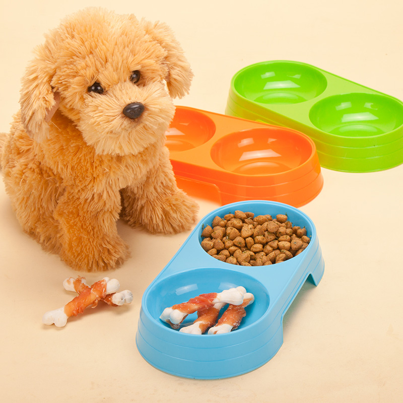 Round fruit color double bowl plastic pet dog bowl dog bowl cat bowl dog bowl dog bowl dog water bowl fanpen supplies