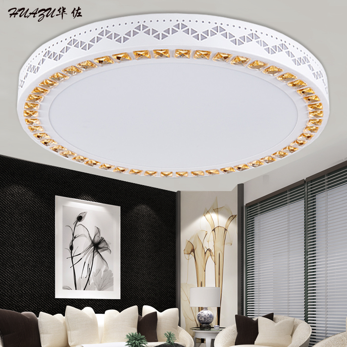 Round led ceiling cozy living room lamp crystal lamps bedroom modern minimalist book room lighting dimmable