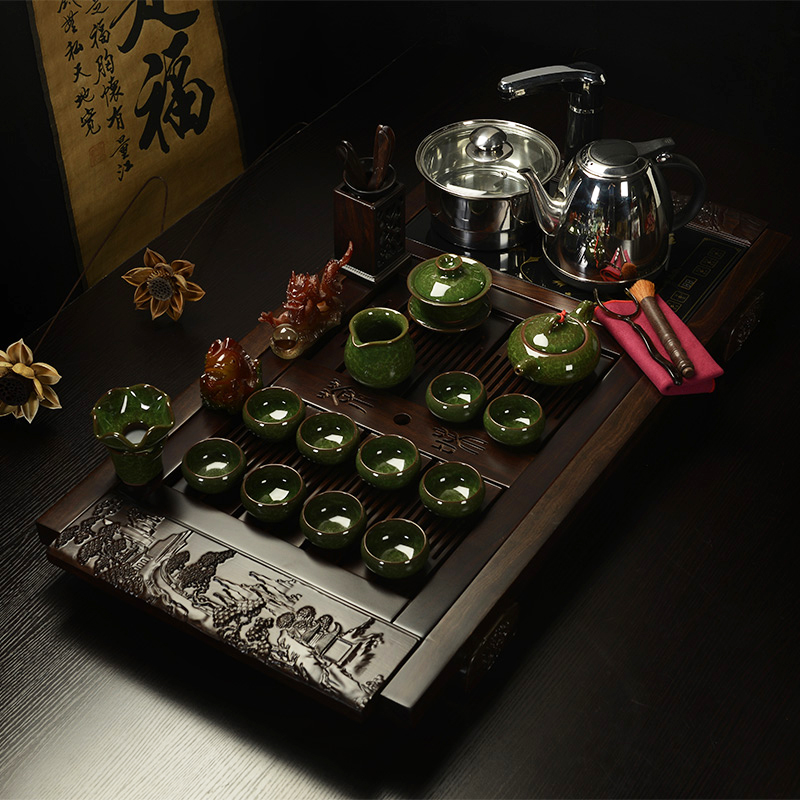 Royal goods fragrant tea set special package ceramic tea sets tea kung fu tea ebony wood tea tray electric furnace suit