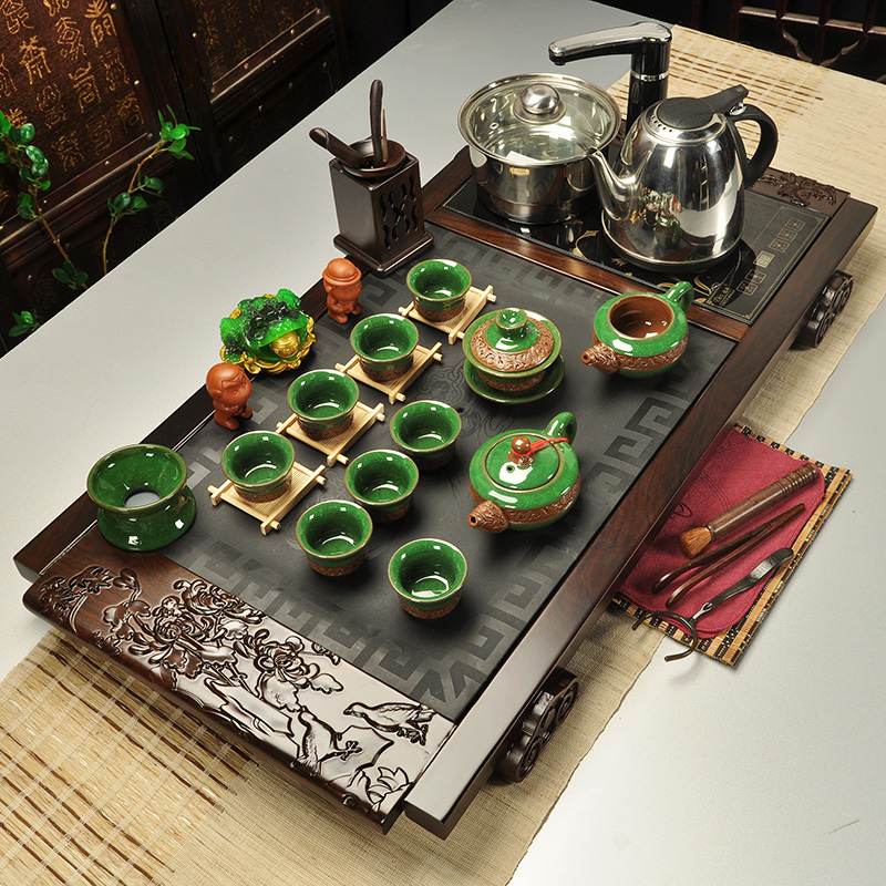Royal goods fragrant tea sets black stone tea tray tea set ebony wood tea tray tea sets tea cooker four sets
