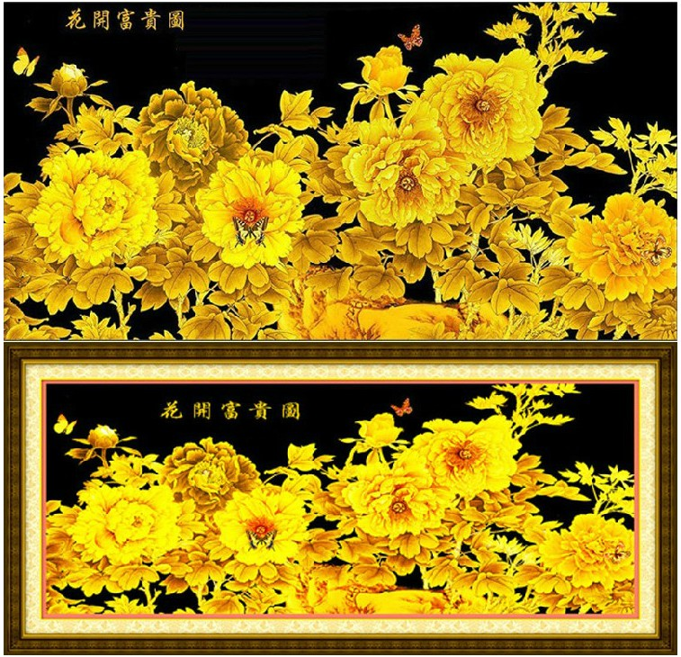 Royal ks genuine blossoming golden peony figure printing stitch substantial new living room 2 szx