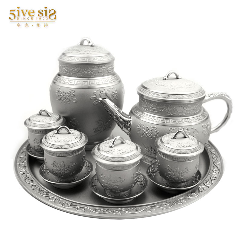 Royal sanskrit poetry thailand tin tea sets handmade carved eight auspicious gifts to share collection